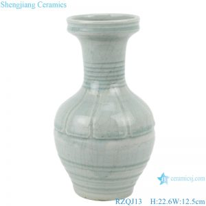 RZQJ13 Chinese pure hand made plain color light grey glazed ceramic vase home decor