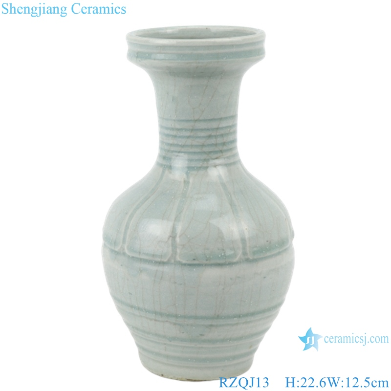 RZQJ13 Chinese pure hand made plain color light grey glazed ceramic vase home decor