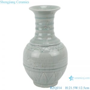 RZQJ14 plain color vase light grey glazed hand made home decor ceramic vase