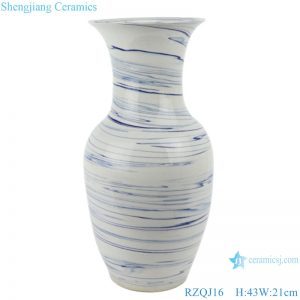 RZQJ16 Mordern white color glazed blue line wave ceramic vases