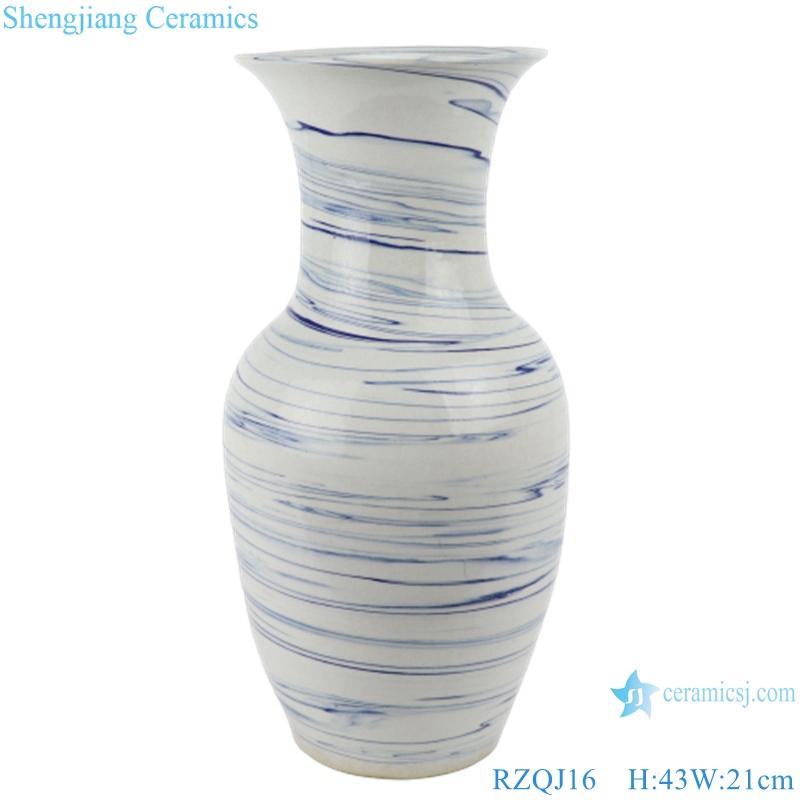 RZQJ16 Mordern white color glazed blue line wave ceramic vases