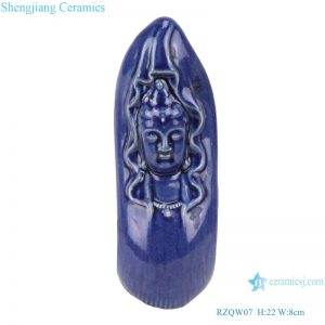 RZQW07 Color Glaze Sacrifice Blue Deep Blue Glaze Sculpture Snake Body Buddha Head Buddha