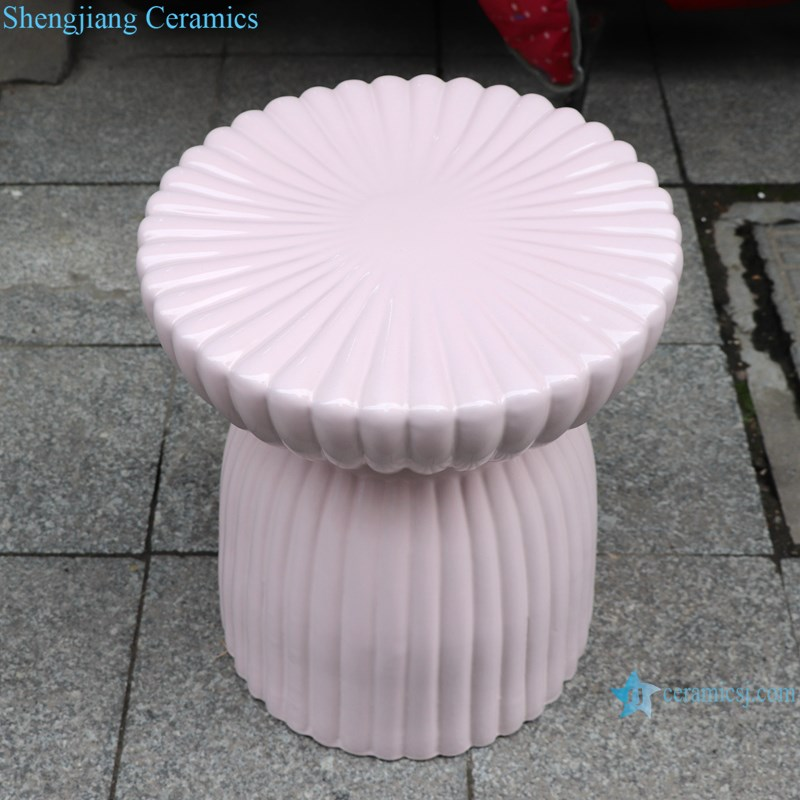 RYIR138 Chinese pink color ceramic glazed park rest chair stool shoe exchange stool
