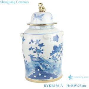 RYKB156-A Jingdezhen handmade ceramic blue and white ginger jar flower patterns