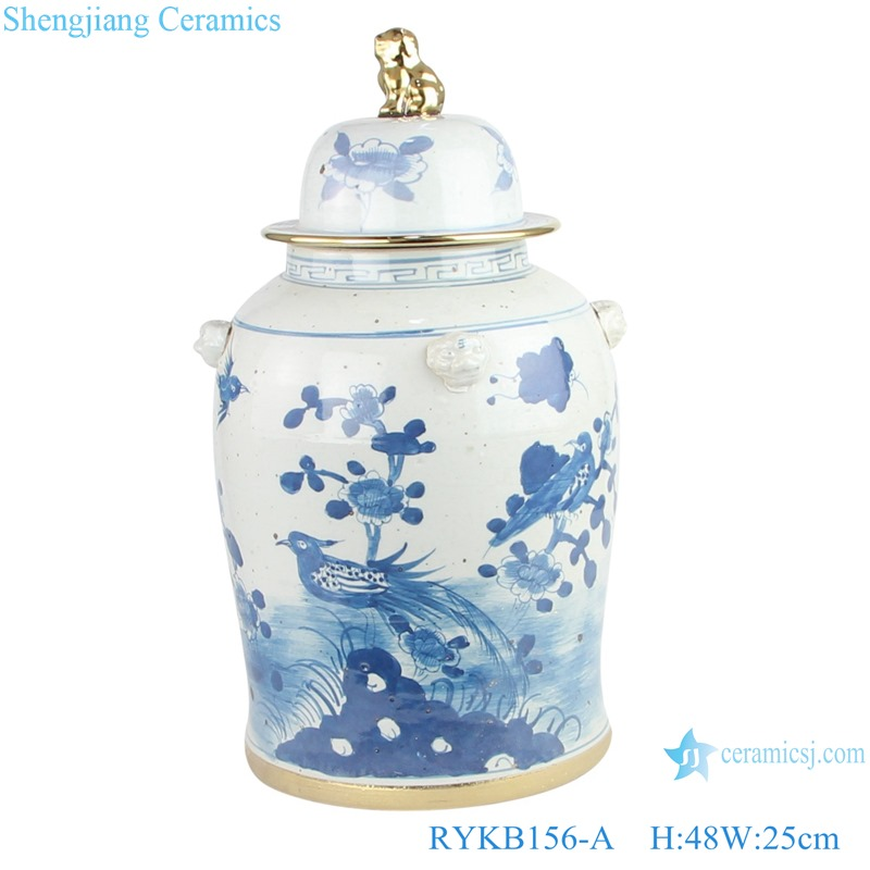 RYKB156-A Jingdezhen handmade ceramic blue and white ginger jar flower patterns