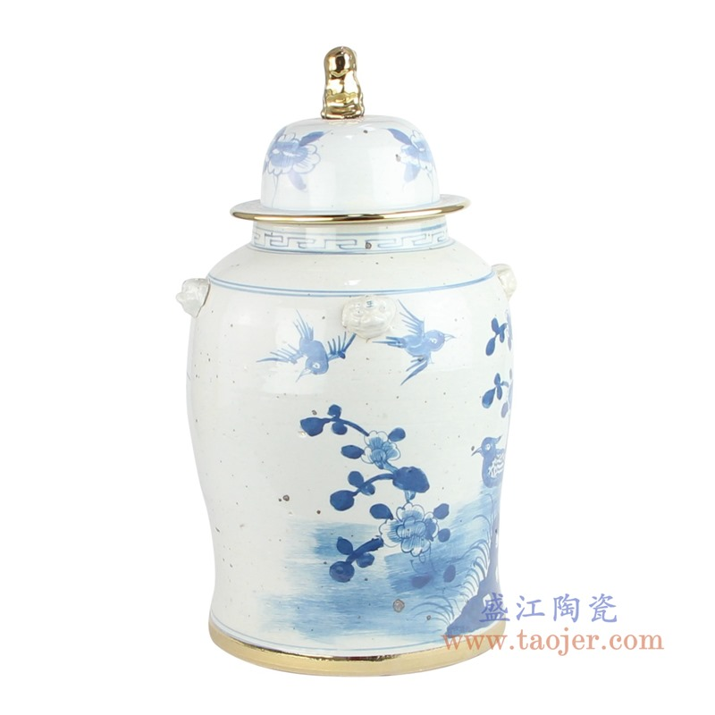 RYKB156-A handmade ceramic blue and white ginger jar flower patterns