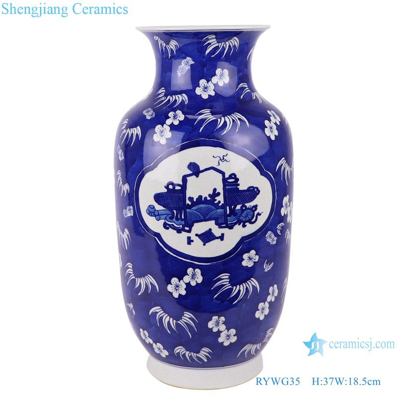 RYWG35 Handmade blue and white ice plum design and ancient wax gourd ceramic vase-main figure