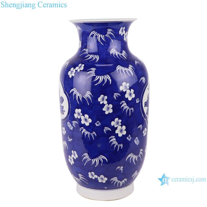 RYWG35 blue and white ice plum design ceramic vase- profile