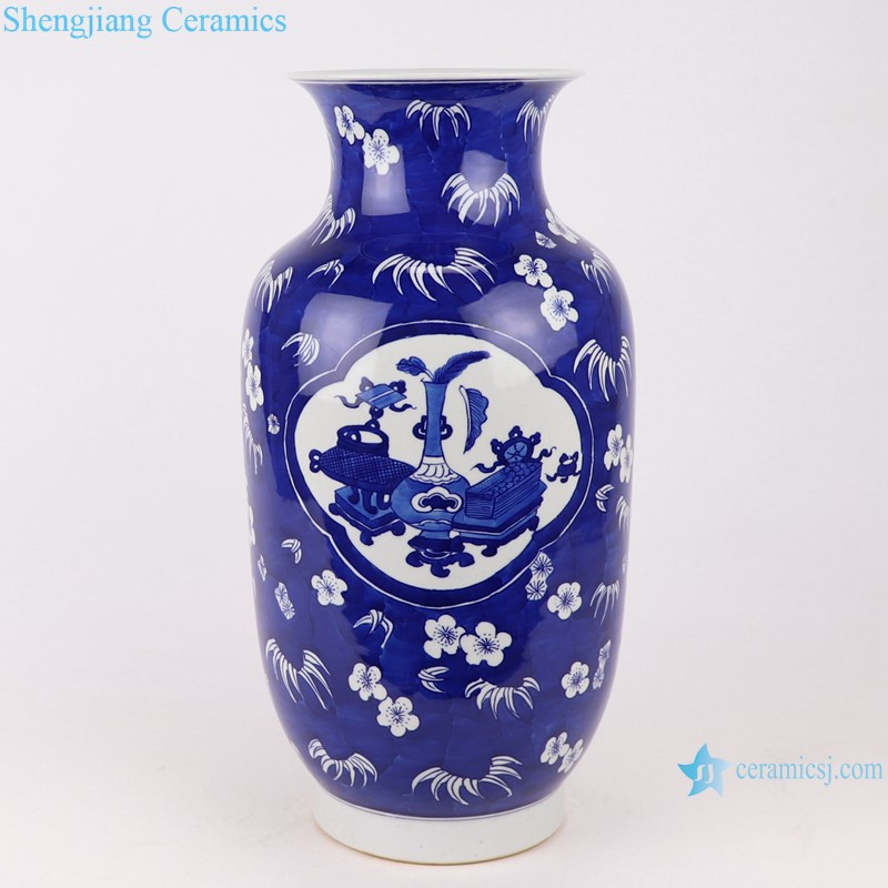 RYWG35 Handmade blue and white ice plum design and ancient wax gourd ceramic vase