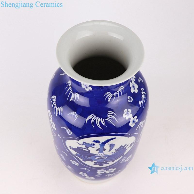 RYWG35 blue and white ice plum design ceramic vase-top view