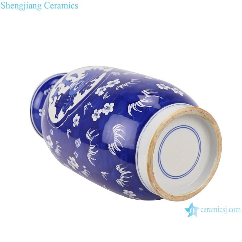 RYWG35 blue and white ice plum design ceramic vase-bottom view