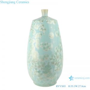 RYYX03 Handmade Crystal glaze straight tube ceramic vase with white flowers green background