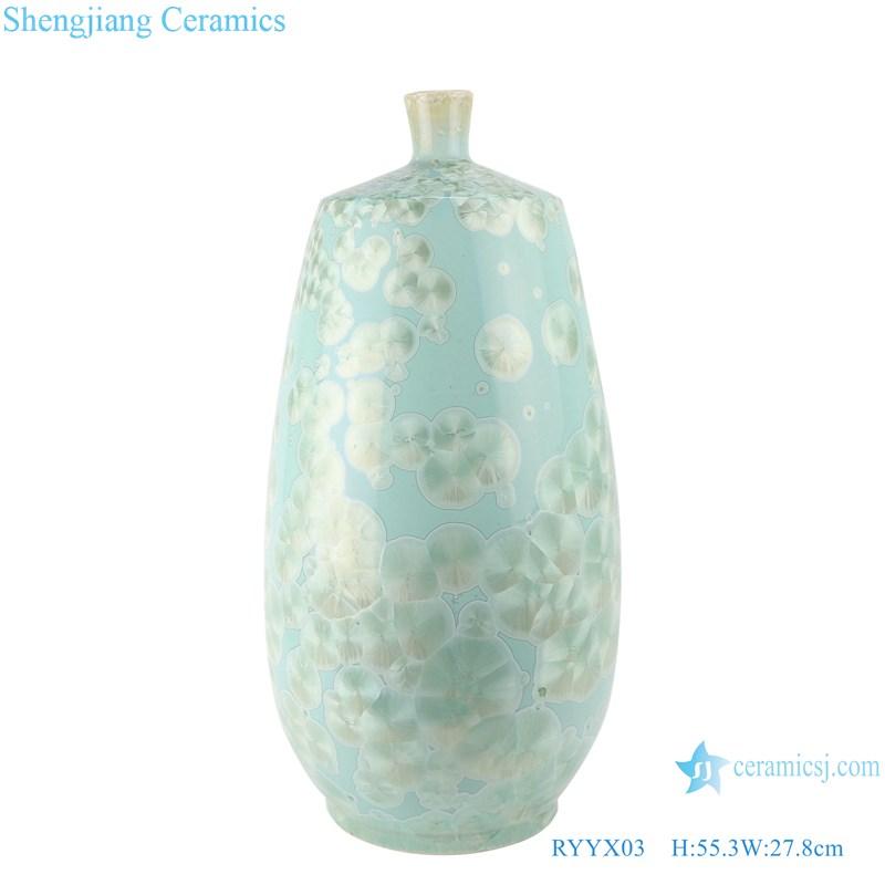 RYYX03 Handmade Crystal glaze straight tube ceramic vase with white flowers green background- main figure