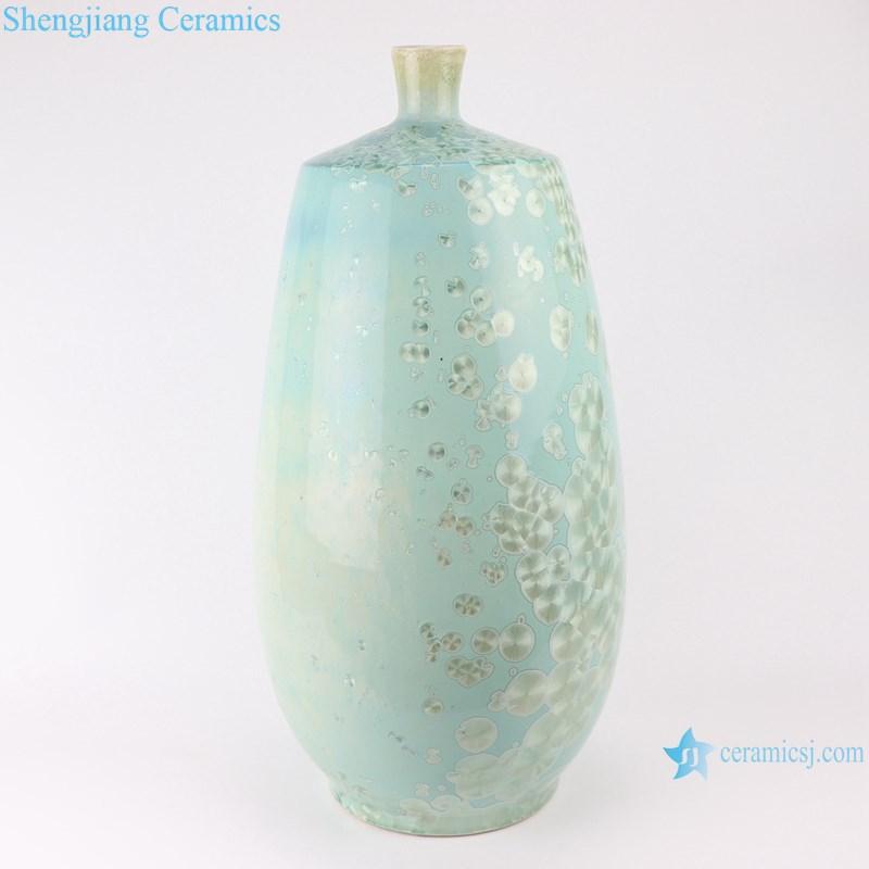RYYX03 Handmade Crystal glaze straight tube ceramic vase with white flowers green background