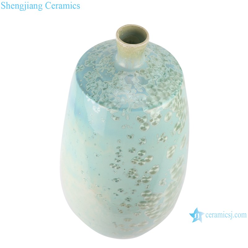 RYYX03 Crystal glaze straight tube ceramic vase with white flowers-top view