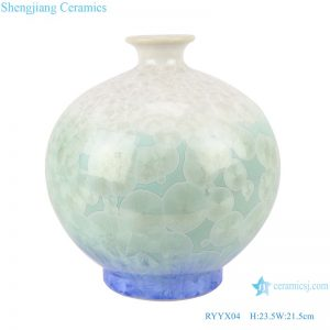 RYYX04 Handmade Crystal glaze ceramic vase with white flowers green background