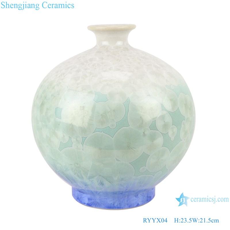 RYYX04 Handmade Crystal glaze ceramic vase with white flowers green background-main figure