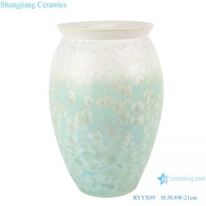 RYYX05 Handmade Crystal glaze straight tube ceramic vase with white flowers green background