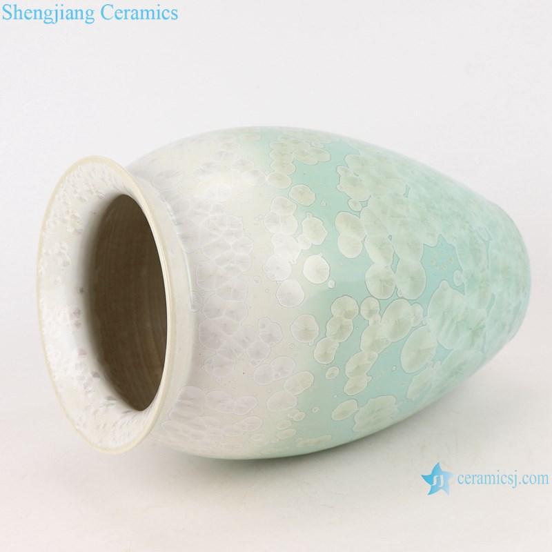 RYYX05 Crystal glaze ceramic vase with white flowers green background-profile