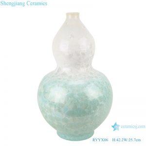 RYYX06 Handmade Crystal glaze ceramic vase with white flowers green background