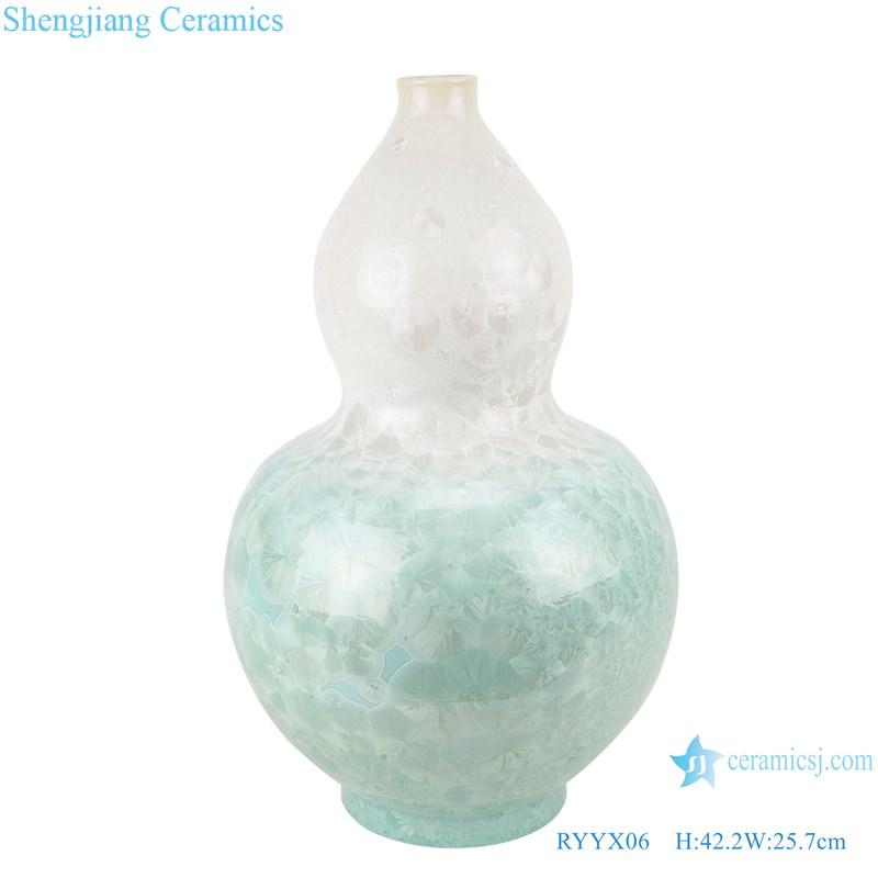 RYYX06 Handmade Crystal glaze ceramic vase with white flowers green background-main figure