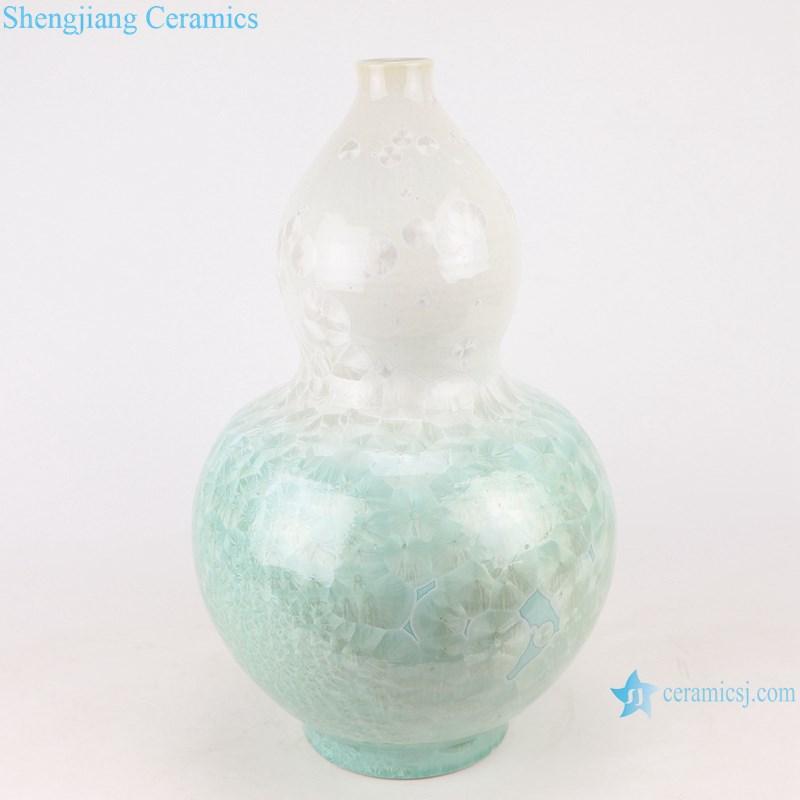 RYYX06 Handmade Crystal glaze straight tube ceramic vase with white flowers green background
