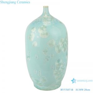 RYYX07-B Handmade crystal glaze ceramic vases blue&green flower pattern decoration