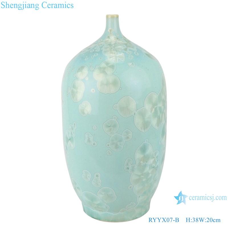 RYYX07-B Handmade crystal glaze ceramic vases blue&green flower pattern decoration-main figure