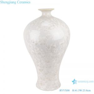 RYYX08 Chinese pure white plum ceramic vase with crystal glaze and white background decoration
