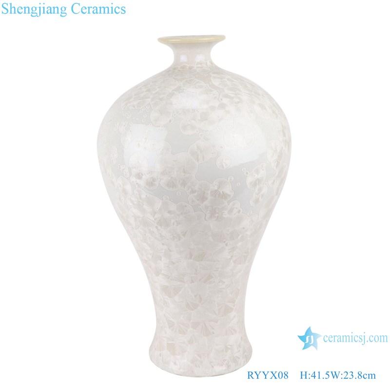 RYYX08 Chinese pure white plum ceramic vase with crystal glaze and white background decoration