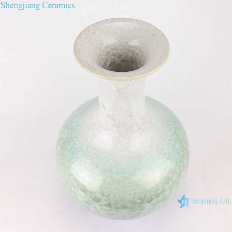 RYYX09 Crystalline glaze white green blue bottom ceramic design vase decoration