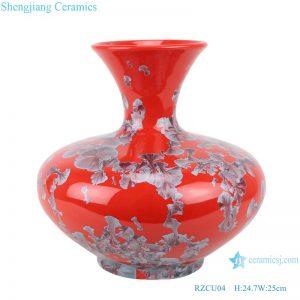 RZCU04 Handmade Flat belly bottle with crystallized glaze and red background ceramic vase