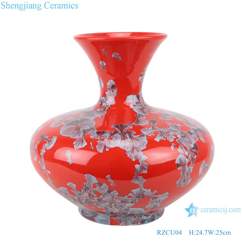 RZCU04 Handmade Flat belly bottle with crystallized glaze and red background ceramic vase
