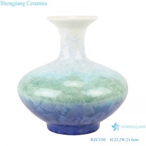 RZCU05 Crystalline glazed white green blue flask with flat belly decorative porcelain vase