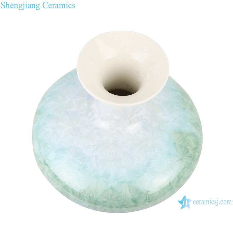 RZCU05 Crystalline glazed white green blue flask with flat belly vase-top view