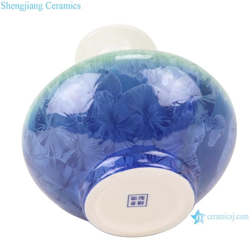 RZCU05 Crystalline glazed white green blue flask with flat belly vase-bottom view