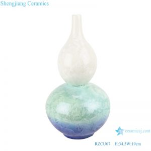 RZCU07 Jingdezhen Crystalline glaze white green blue color ceramic decorative vase