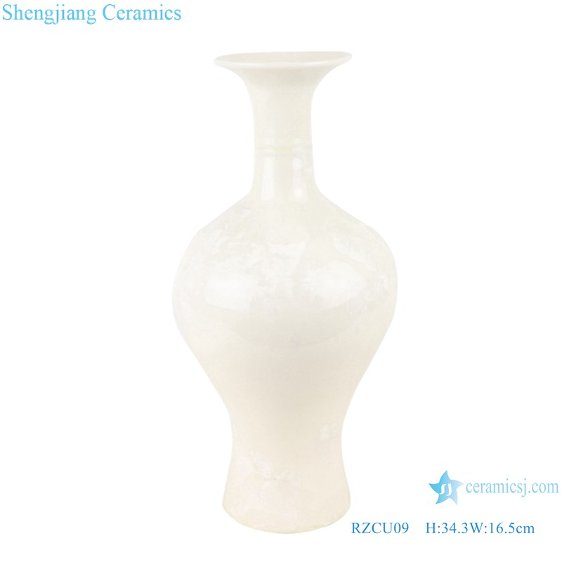 RZCU09 Handmade Pure white jade spring vase with crystal glaze decorative vase room decoration