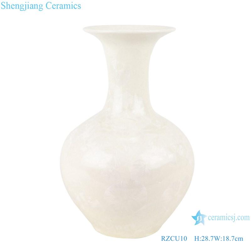 RZCU10 Handmade Pure white jade spring vase with crystal glaze decorative vase room decoration