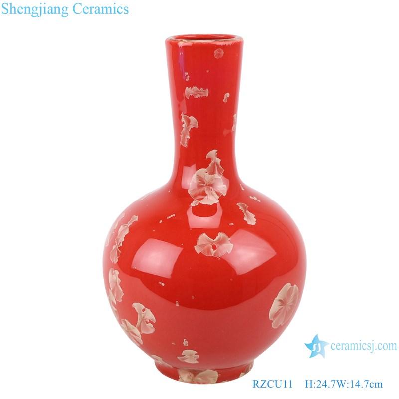 RZCU11 Ceramic vase with crystallized glaze red background decoration