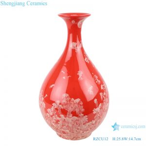 RZCU12 Jingdezhen handmade vase with crystallized glaze red background decoration