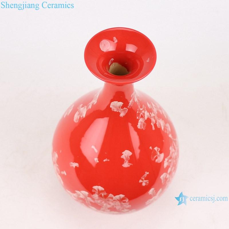 RZCU12 Jingdezhen handmade vase red background decoration