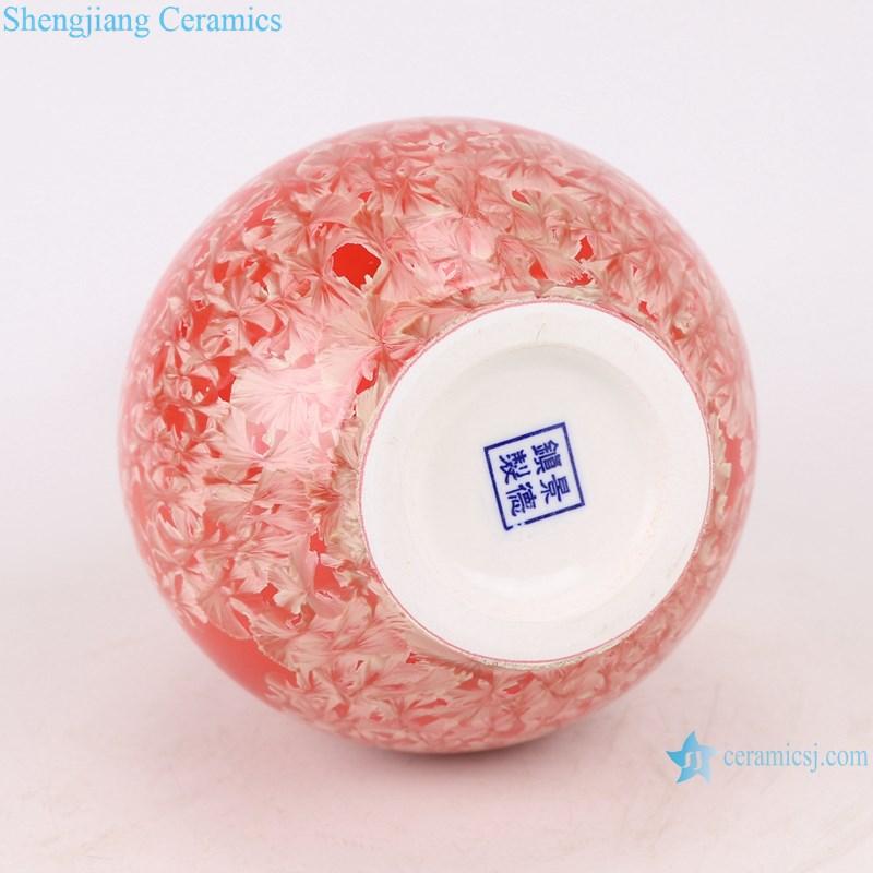 RZCU12 Jingdezhen handmade vase with crystallized glaze red background decoration