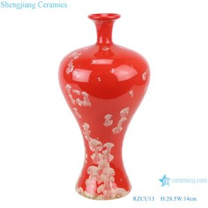 RZCU13 Ceramic vase with crystallized glaze red background decoration