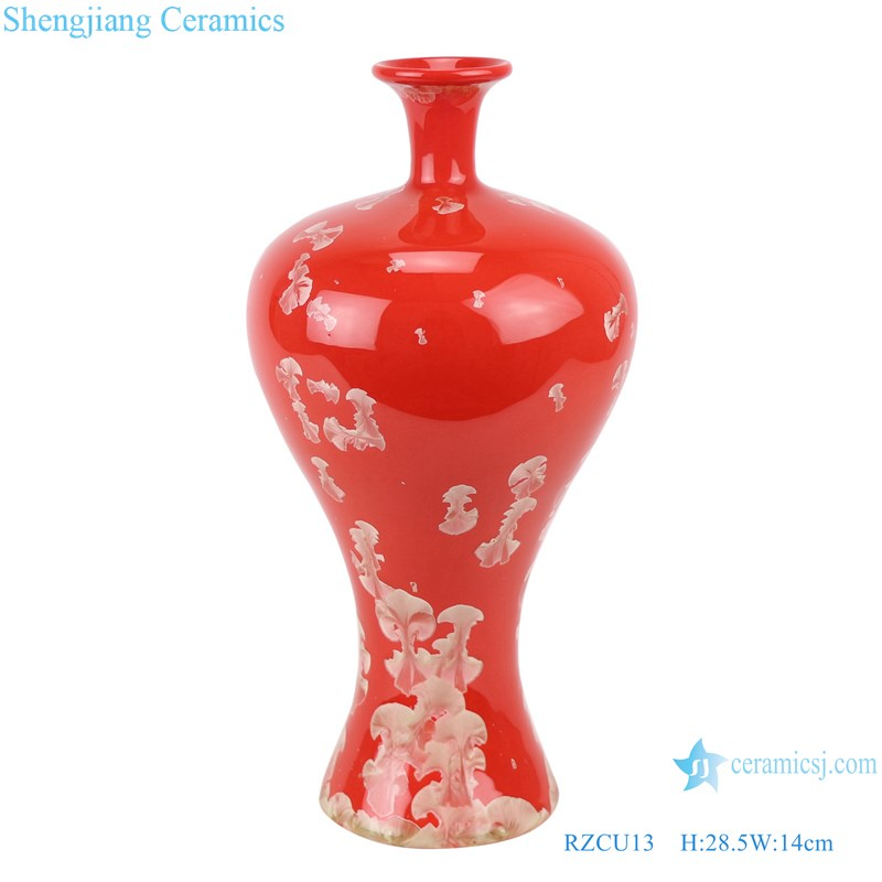 RZCU13 Ceramic vase with crystallized glaze red background decoration