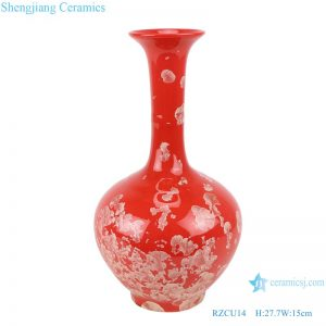RZCU14 Handmade Ceramic vase with crystallized glaze red background decoration