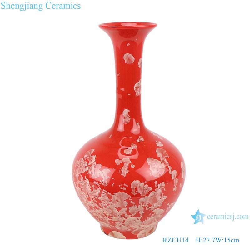 RZCU14 Handmade Ceramic vase with crystallized glaze red background decoration