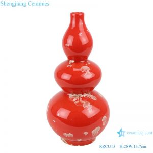 RZCU15 Ceramic vase with crystallized glaze red background table decoration