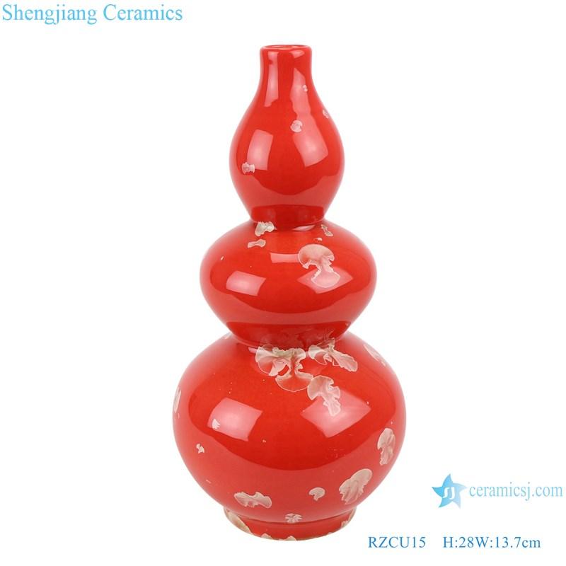 RZCU15 Ceramic vase with crystallized glaze red background table decoration