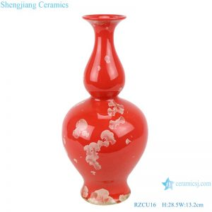 RZCU16 Ceramic vase with crystallized glaze red background room decoration